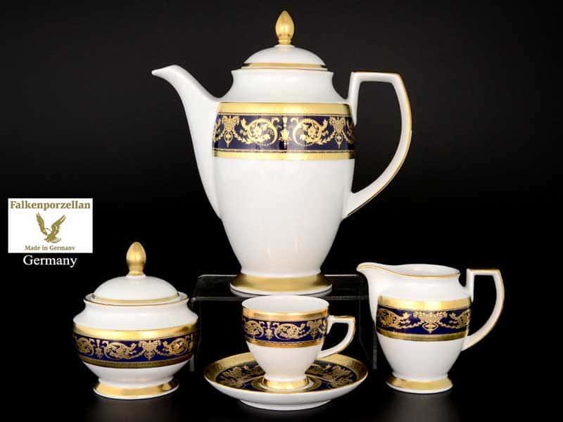 Imperial Cobalt Gold Кофейный сервиз на 6 персон 17 предметов  Falkenporzellan