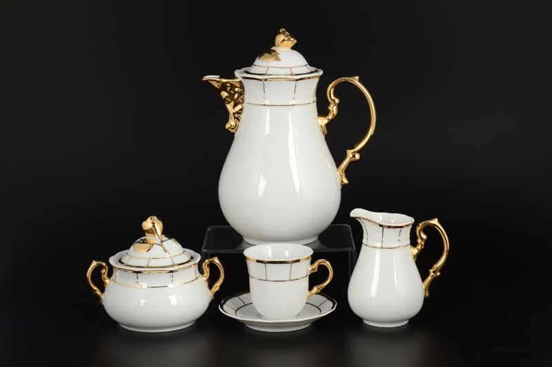 Менуэт Обводка золото Кофейный сервиз мокко Thun на 6 персон 17 предметов