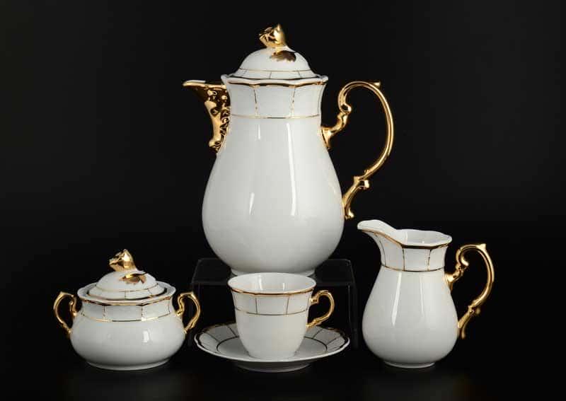Менуэт Обводка золото Кофейный сервиз Thun на 6 персон 17 предметов