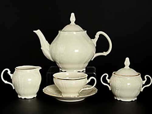 Бернадотт Белый узор BE-IVORY Чайный сервиз на 6 персон 17 предметов