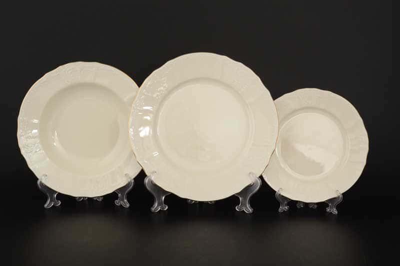 Бернадотт Белый узор BE-IVORY Набор тарелок 18 предметов