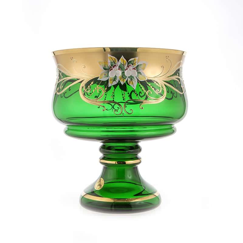 Лепка зеленая 6111 Ваза для фруктов на ножке U. Glass 24 см.