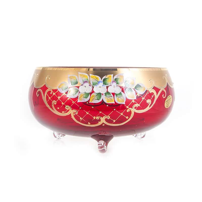 Лепка красная 5408 Ваза для фруктов U. Glass 24 см. на 3 ножках