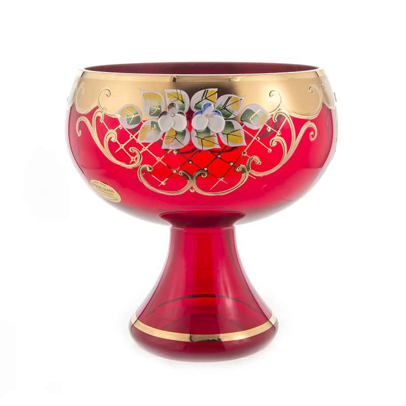 Лепка красная 5849 Ваза для конфет U. Glass 17 см