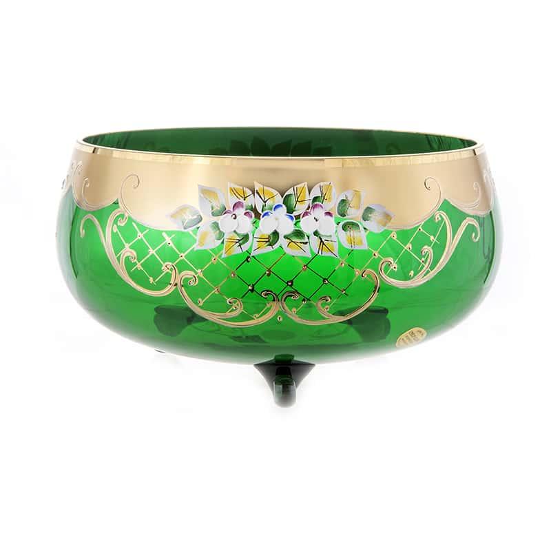 Лепка зеленая 5408 Ваза для фруктов тройножка U. Glass 28 см