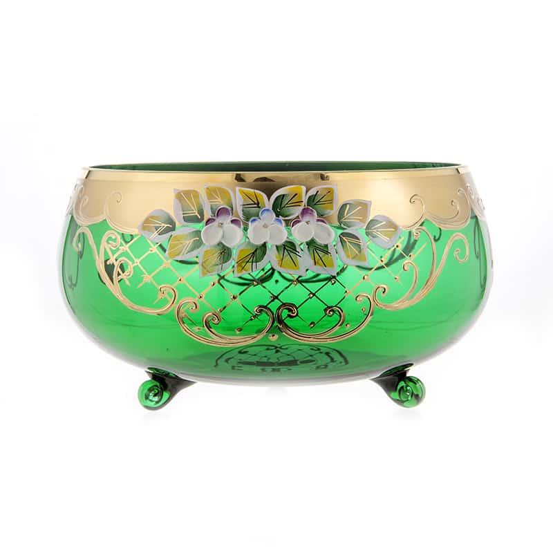 Лепка зеленая 5408 Ваза для фруктов на 3 ножках U. Glass 24 см