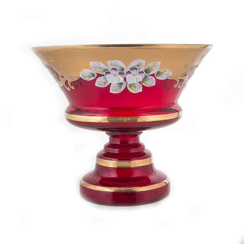 Лепка красная 5365 Ваза для конфет на ножке U. Glass 15 см