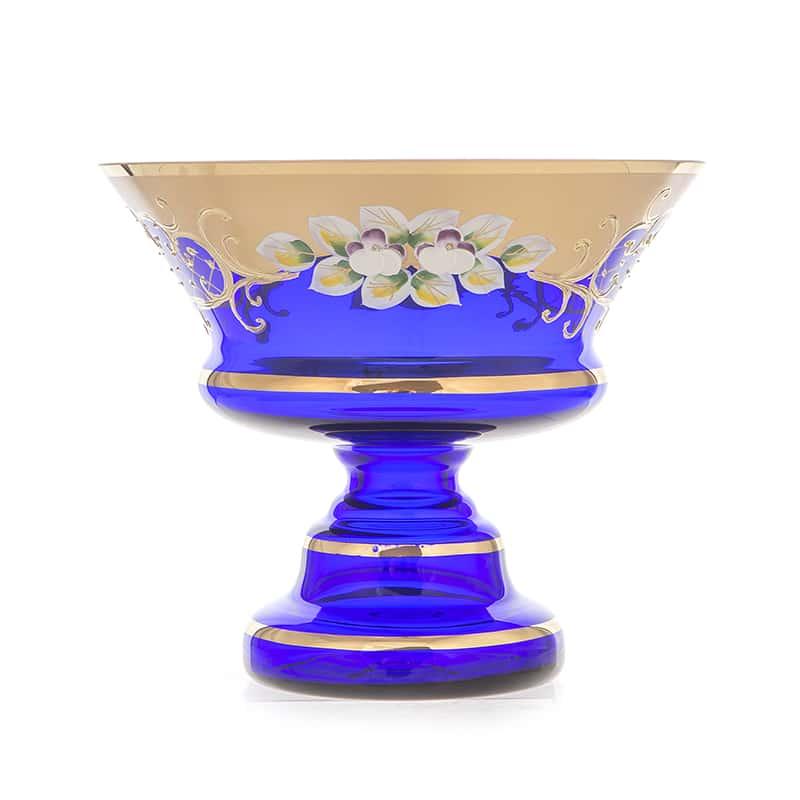 Лепка синяя 5365 Ваза для конфет на ножке U. Glass 17 см