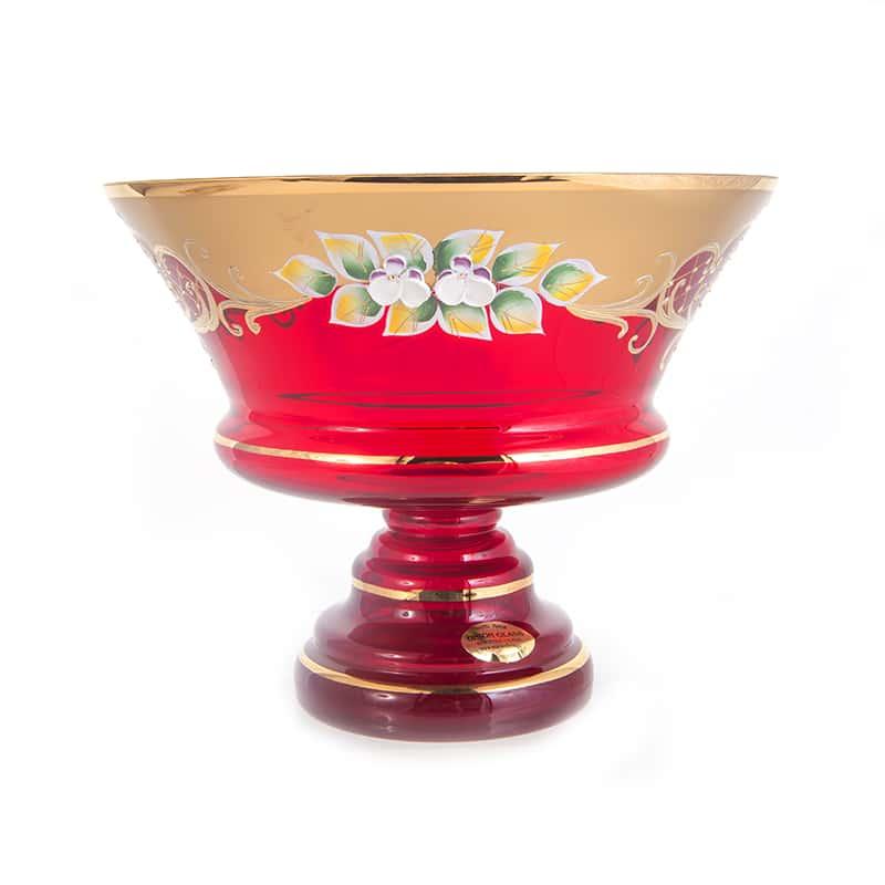 Лепка красная 5365 Ваза для фруктов на ножке U. Glass 24 см