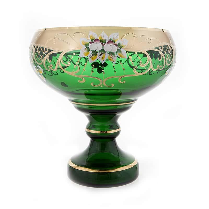 Лепка зеленая 9823 Ваза для фруктов на ножке U. Glass 26 см