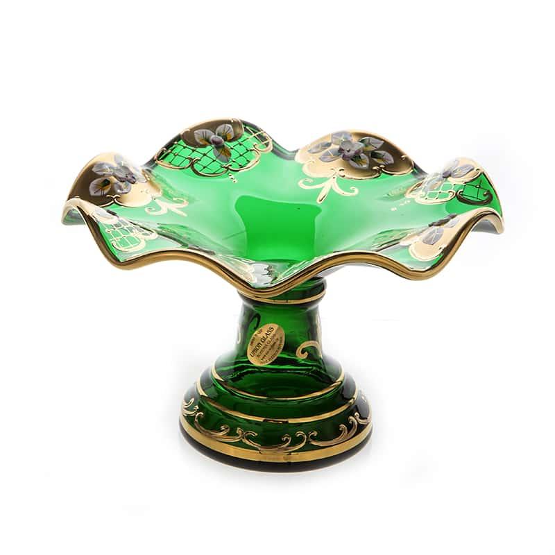 Лепка зеленая 5117 Фруктовница на ножке U. Glass 18 см