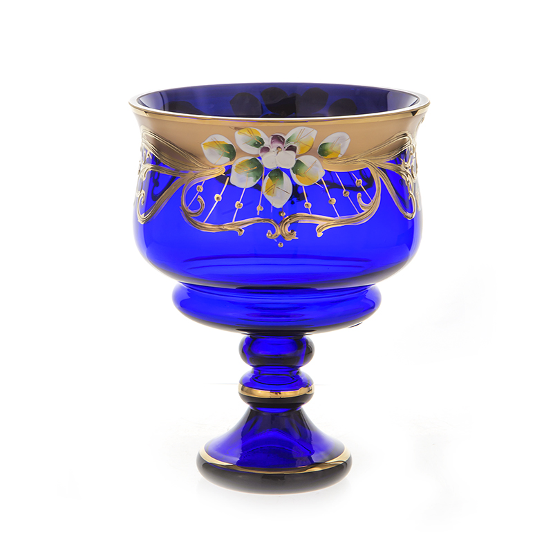 Лепка синяя 6111 Ваза для варенья на ножке U. Glass 15 см