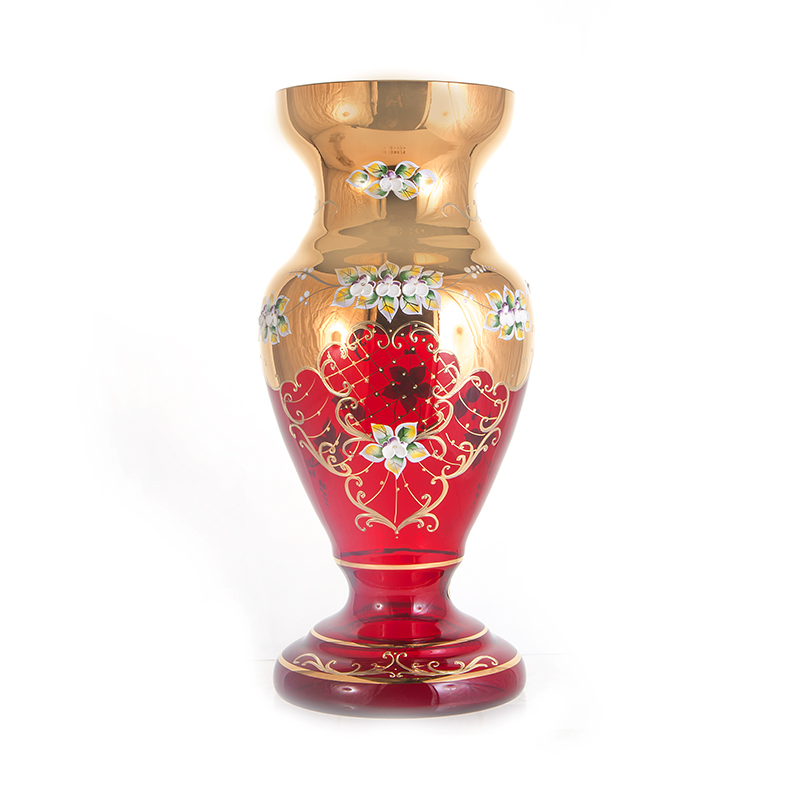 Лепка красная 83219 Ваза для цветов на ножке U. Glass 43 см