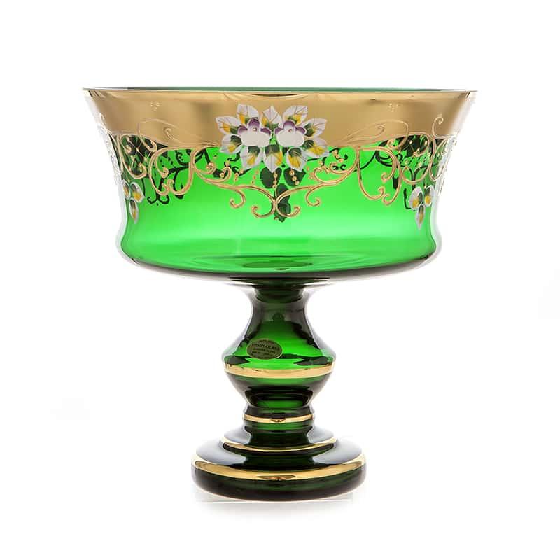 Лепка зеленая 6999 Ваза для фруктов на ножке 28 см U. Glass