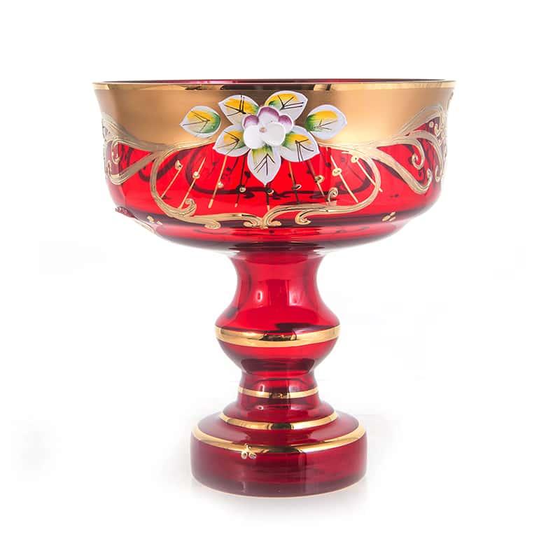 Лепка красная 6888 Ваза для конфет на ножке 15 см U. Glass