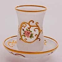 Роза Набор для чая Bohemia стакан и блюдце из стекла