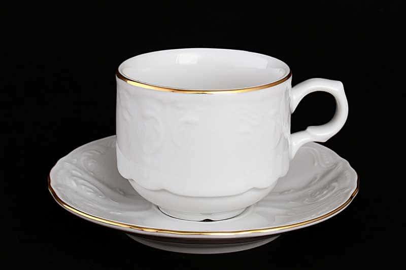 Бернадотт Белый узор 11011 Набор кофейных пар 120 мл (6 пар)