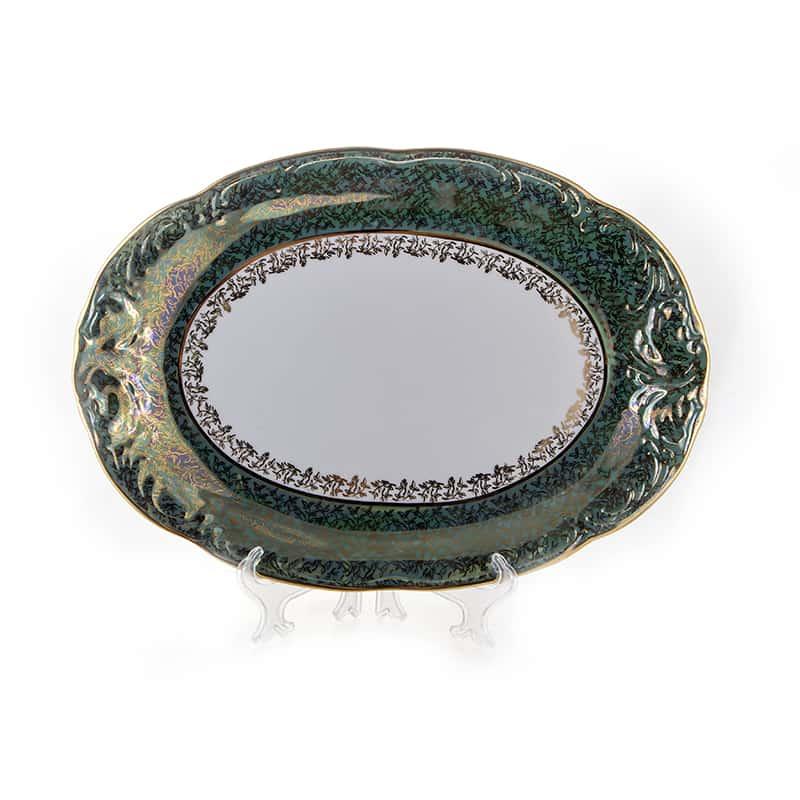 Лист зеленый Блюдо овальное Carlsbad 38 см