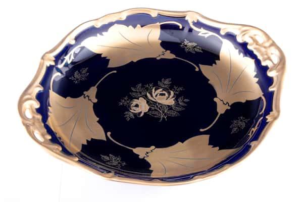 Кленовый лист синий Блюдо круглое Weimar 28 см.