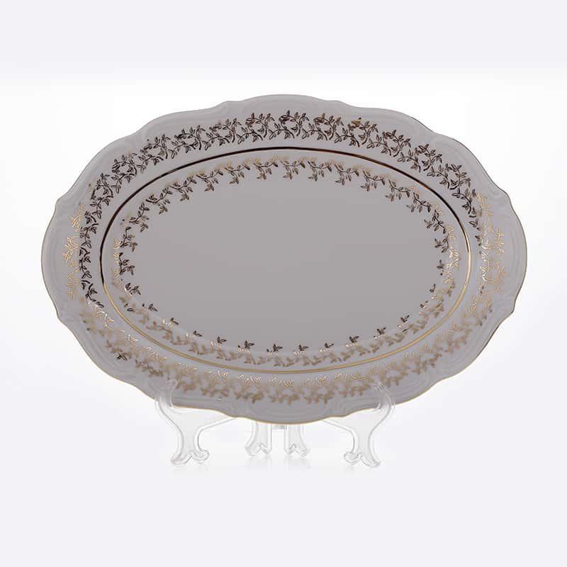 Лист белый Блюдо овальное Bavarian Porcelain 33 см