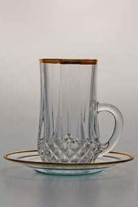 Лонгшамп золотой ободок Набор для чая Армуда Bohemia 12 предметов