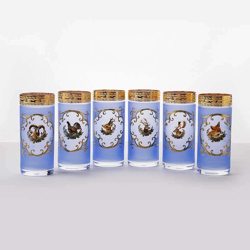 Охота синяя Набор стаканов Bohemia 6 шт. 300 мл.
