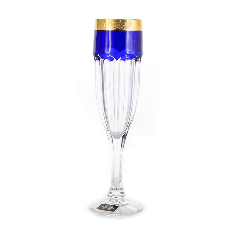 Сафари Синие Набор фужеров для шампанского 150 мл Crystalite