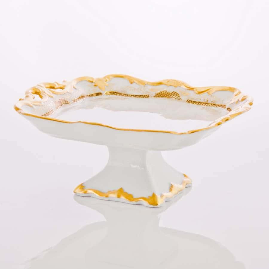 Симфония золотая Блюдо квадратное на ножке 21 см Weimar