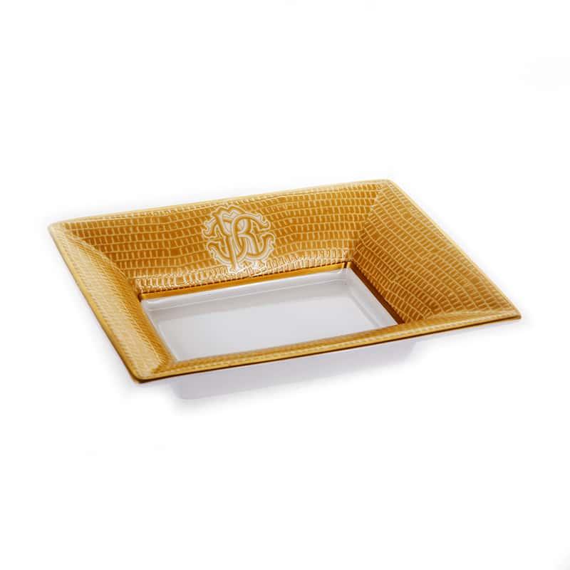 Лиззард Голд Блюдо квадратное Roberto Cavalli 12х9 см