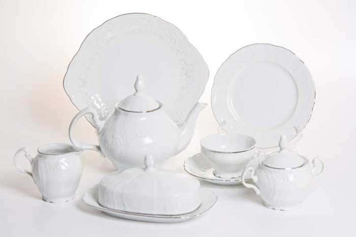 Бернадотт Платиновый узор 2021 Чайный сервиз 205 мл на 12 персон 44 предмет