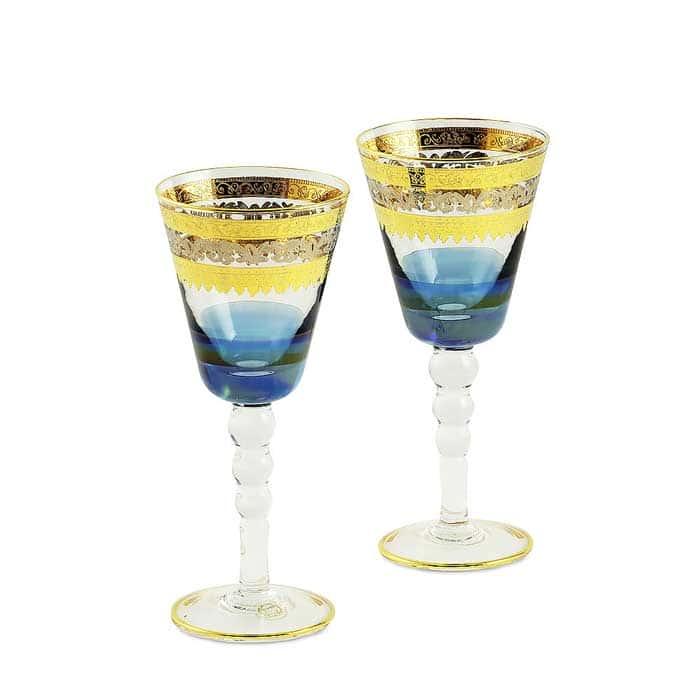ADRIATICA Бокал для вина/воды, набор 2 шт, хрусталь голубой/декор золото 24К/платина