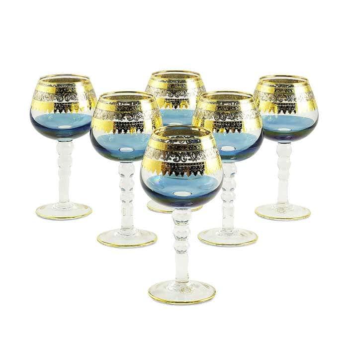 ADRIATICA Бокал для коньяка, набор 6 шт, хрусталь голубой/декор золото 24К/платина