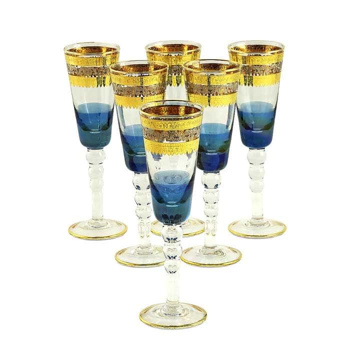 ADRIATICA Бокал для шампанского, набор 6 шт, хрусталь голубой/декор золото 24К/платина