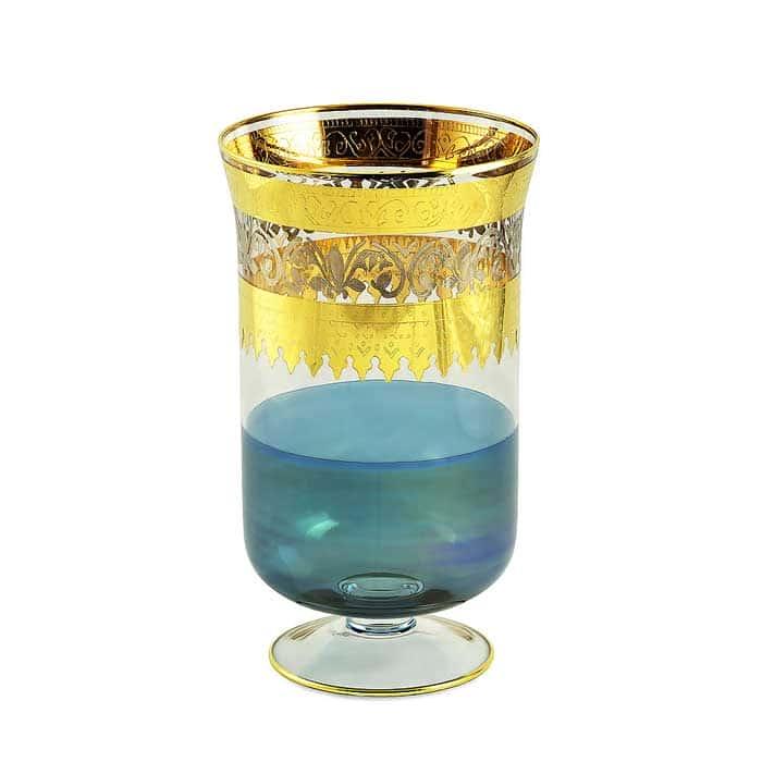 ADRIATICA Ваза для цветов H32 см, хрусталь голубой/декор золото 24К/платина
