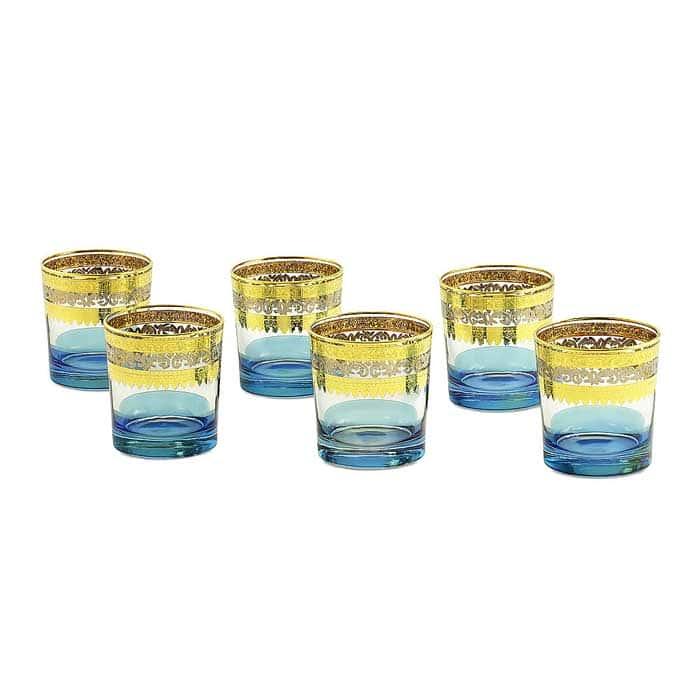 ADRIATICA Стакан 300 мл, набор 6 шт, хрусталь голубой/декор золото 24К/платина
