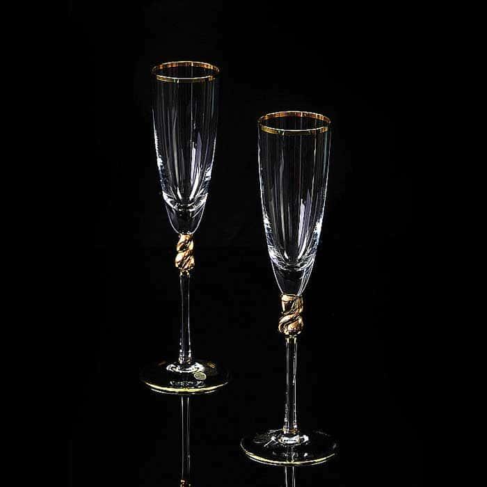 AMORE Бокал для шампанского, набор 2 шт, хрусталь/декор золото 24К