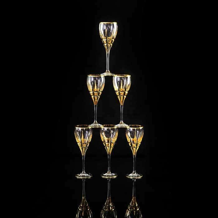 BARON Бокал для вина/воды, набор 6 шт, хрусталь/декор золото 24К