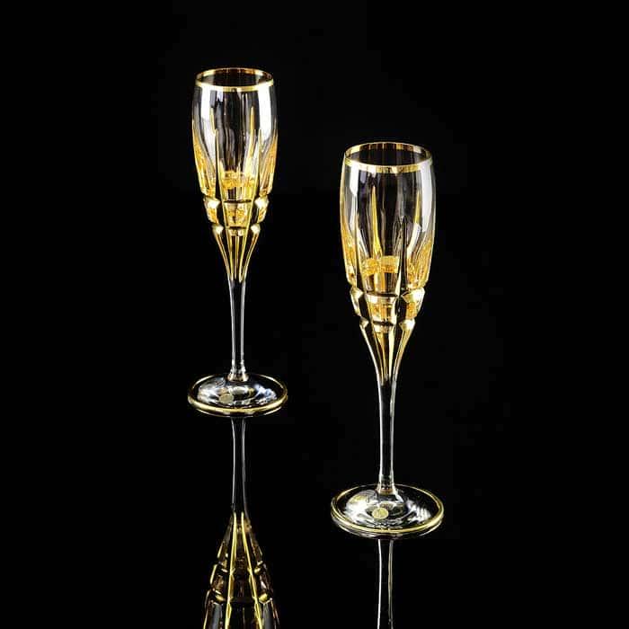 BARON Бокал для шампанского, набор 2 шт, хрусталь/декор золото 24К