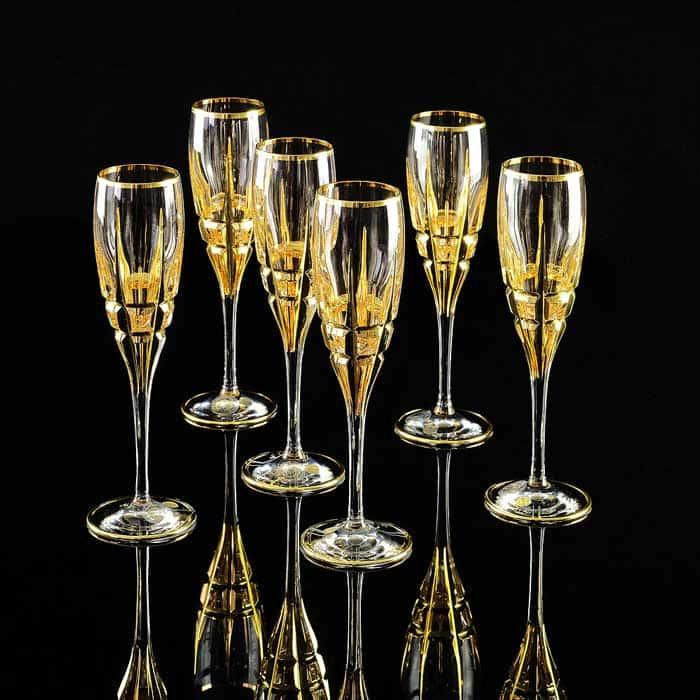 BARON Бокал для шампанского, набор 6 шт, хрусталь/декор золото 24К
