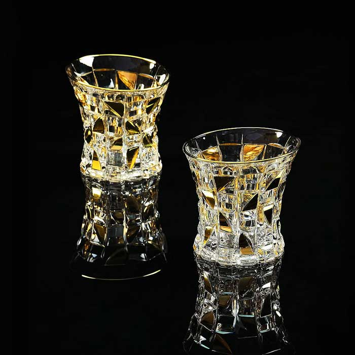 CASINO Стакан для виски 300 мл для виски, набор 2 шт, хрусталь/декор золото 24К