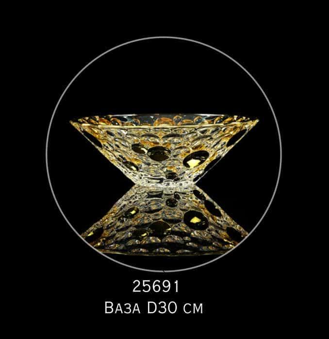 DECOR Ваза D30 см, хрусталь/декор золото 24К