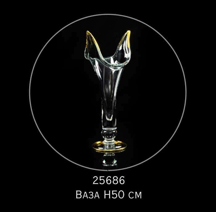 DECOR Ваза для цветов H50 см, хрусталь/декор золото 24К