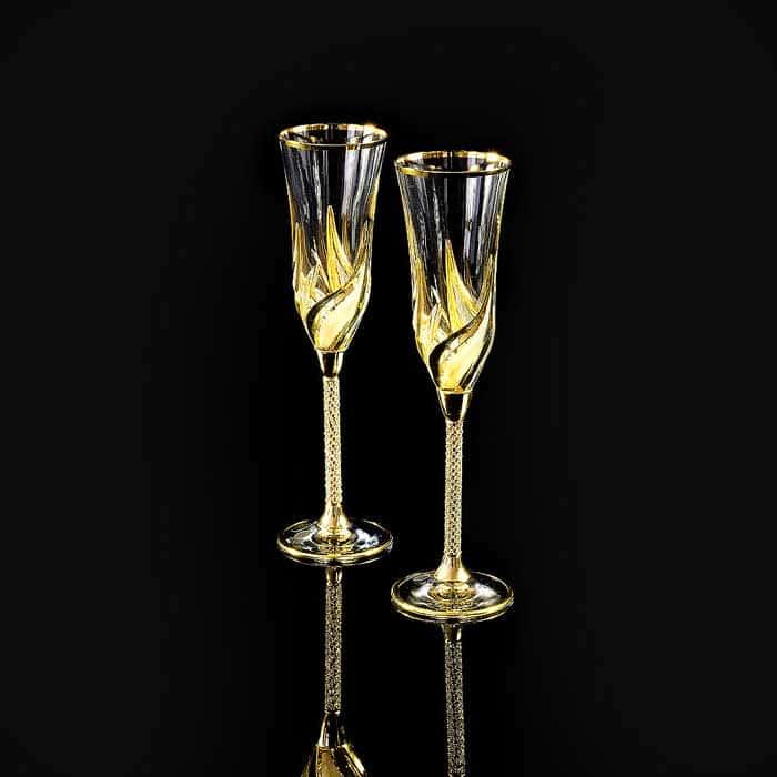 DELIZIA Бокал для шампанского, набор 2 шт, хрусталь/декор золото 24К