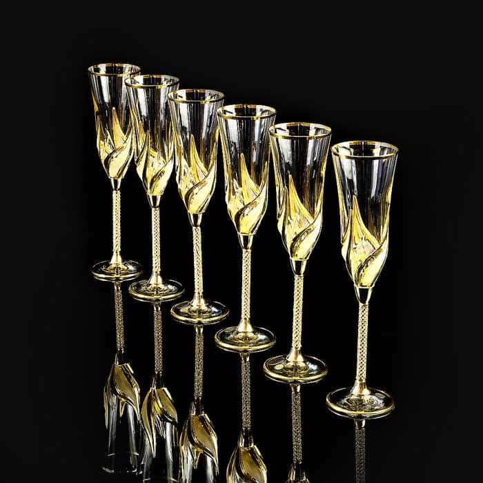 DELIZIA Бокал для шампанского, набор 6 шт, хрусталь/декор золото 24К