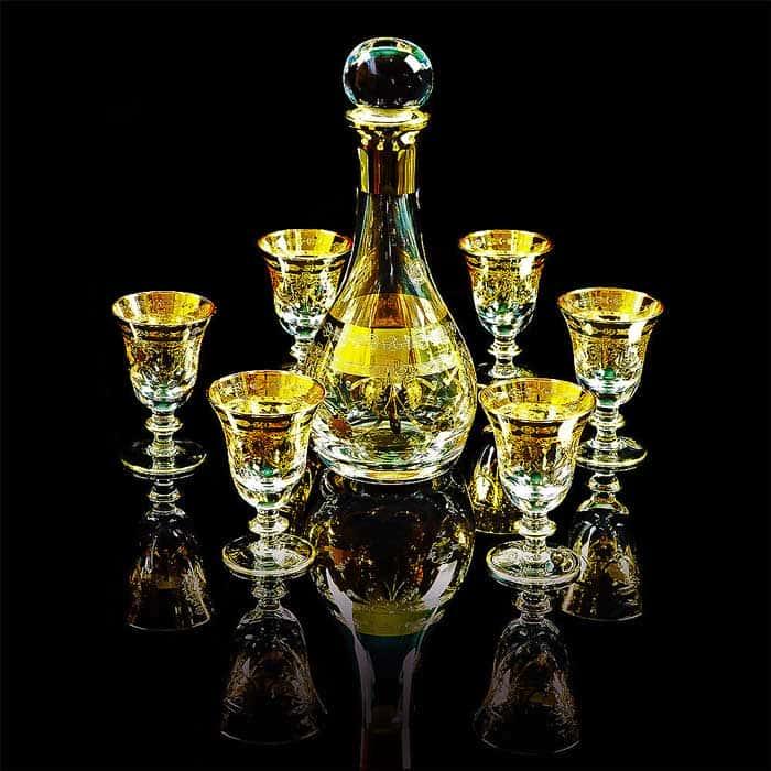 DINASTIA Графин 1 л. H33 см, хрусталь/декор золото 24К