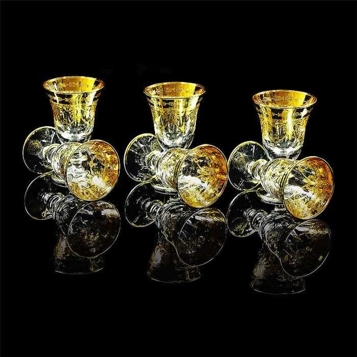 DINASTIA Рюмка для водки, набор 6 шт, хрусталь/декор золото 24К