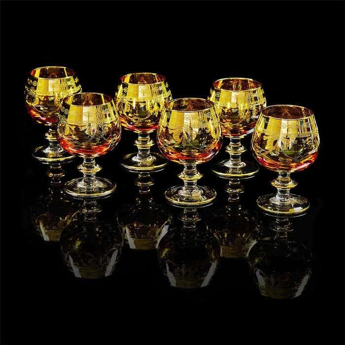 DINASTIA AMBRA Бокал для коньяка, набор 6 шт, хрусталь янтарный/декор золото 24К