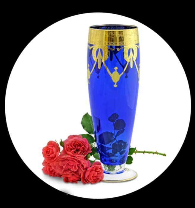 DINASTIA BLU Ваза для цветов H42 см, хрусталь синий/декор золото 24К