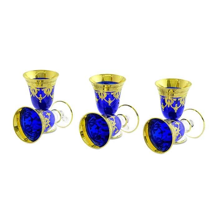 DINASTIA BLU Рюмка, набор 6 шт, хрусталь синий/декор золото 24К