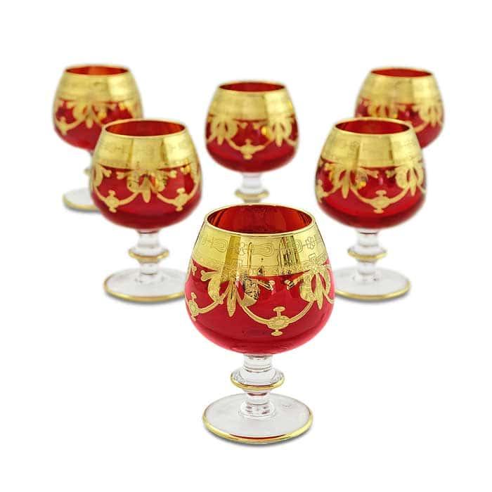DINASTIA ROSSO Бокал для коньяка, набор 6 шт, хрусталь красный/декор золото 24К